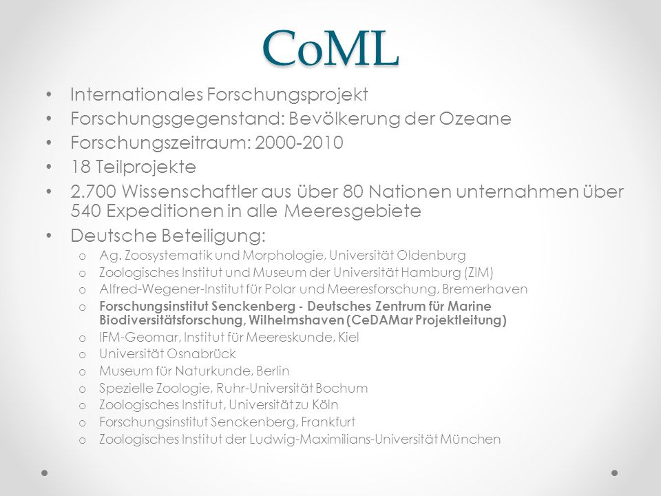 CoML Internationales Forschungsprojekt