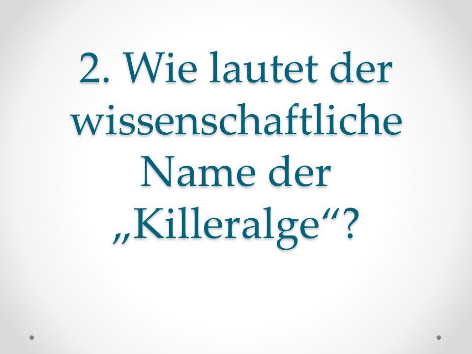 """2. Wie lautet der wissenschaftliche Name der """"Killeralge"""