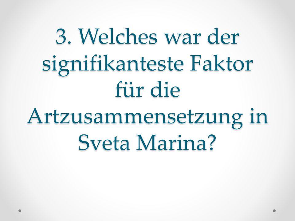 3. Welches war der signifikanteste Faktor für die Artzusammensetzung in Sveta Marina