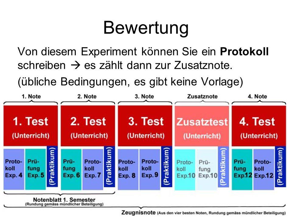 Bewertung Von diesem Experiment können Sie ein Protokoll schreiben  es zählt dann zur Zusatznote. (übliche Bedingungen, es gibt keine Vorlage)