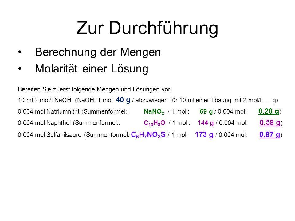 Zur Durchführung Berechnung der Mengen Molarität einer Lösung