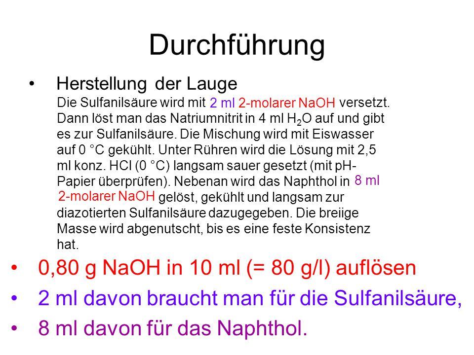 Durchführung 0,80 g NaOH in 10 ml (= 80 g/l) auflösen