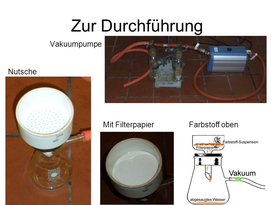 Zur Durchführung Vakuumpumpe Nutsche Mit Filterpapier Farbstoff oben