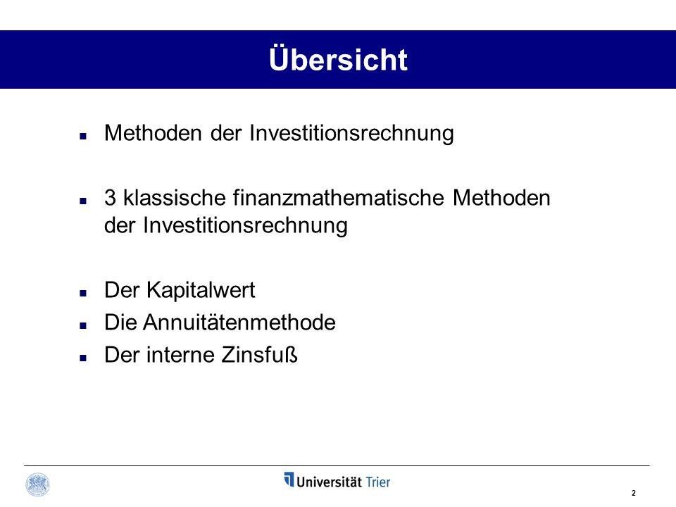 Übersicht Methoden der Investitionsrechnung
