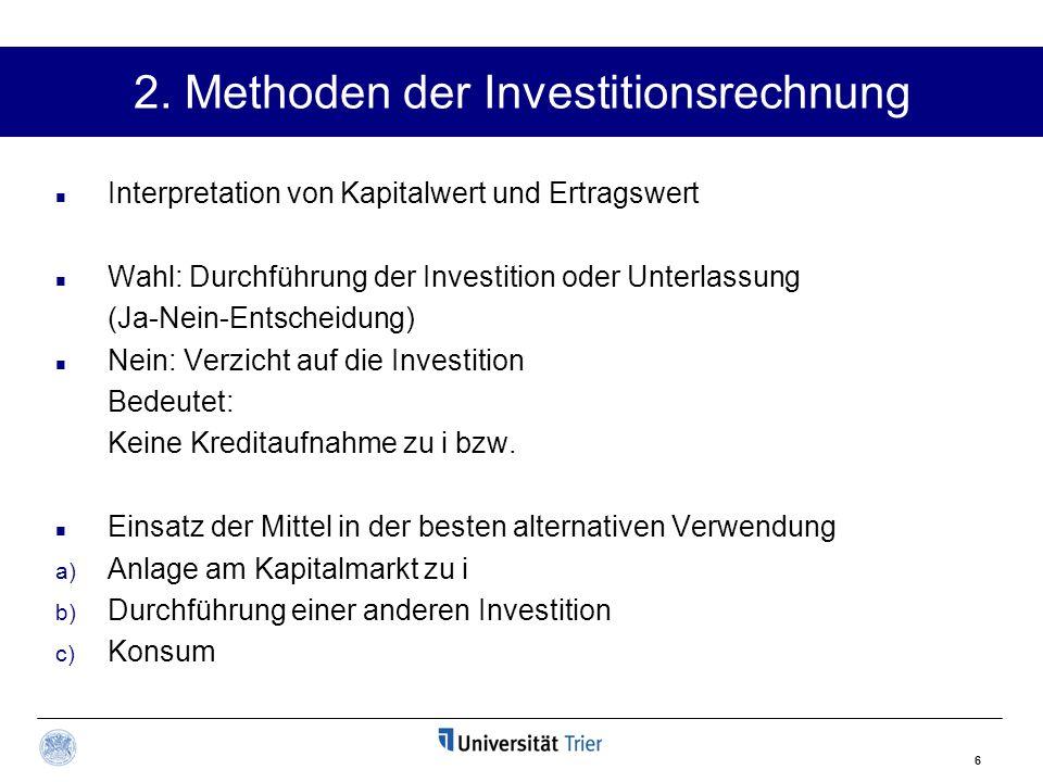 2. Methoden der Investitionsrechnung