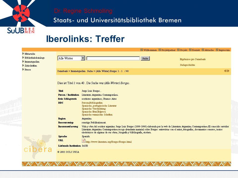 Dr. Regine Schmolling Iberolinks: Treffer