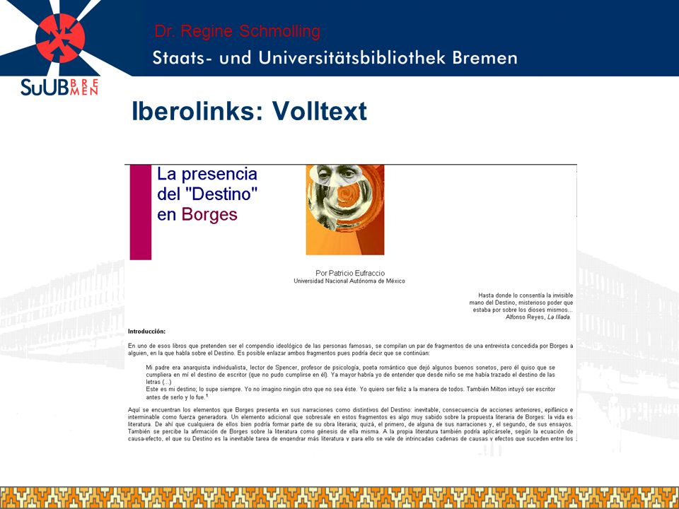 Dr. Regine Schmolling Iberolinks: Volltext