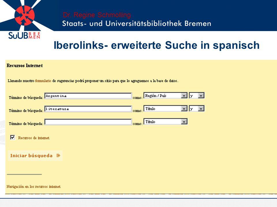 Iberolinks- erweiterte Suche in spanisch