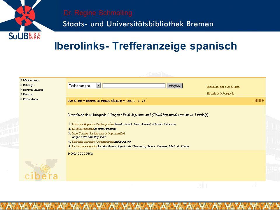 Iberolinks- Trefferanzeige spanisch