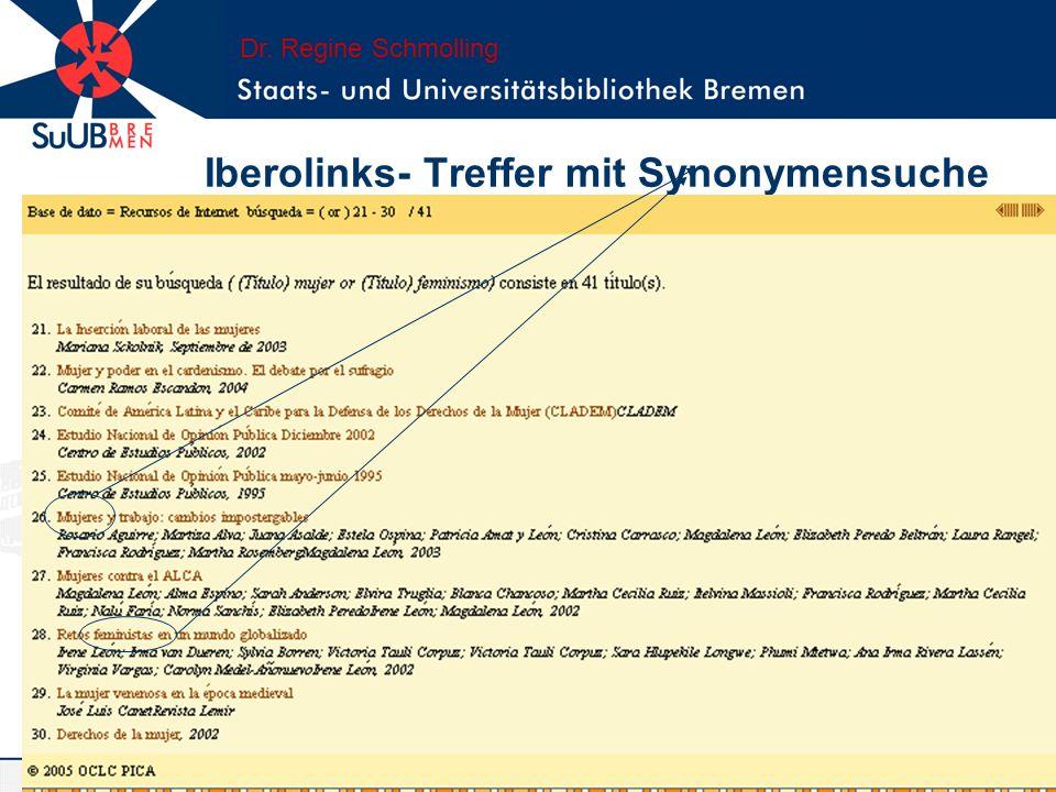 Iberolinks- Treffer mit Synonymensuche