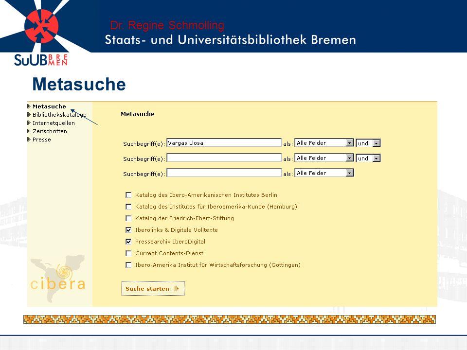 Dr. Regine Schmolling Metasuche