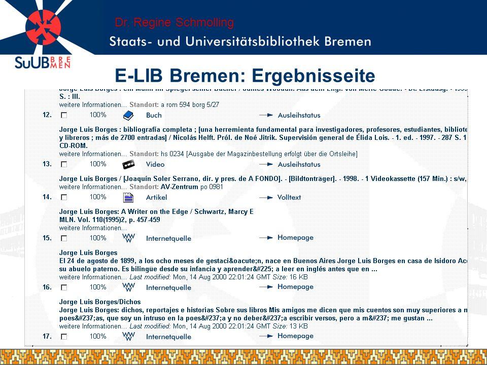E-LIB Bremen: Ergebnisseite