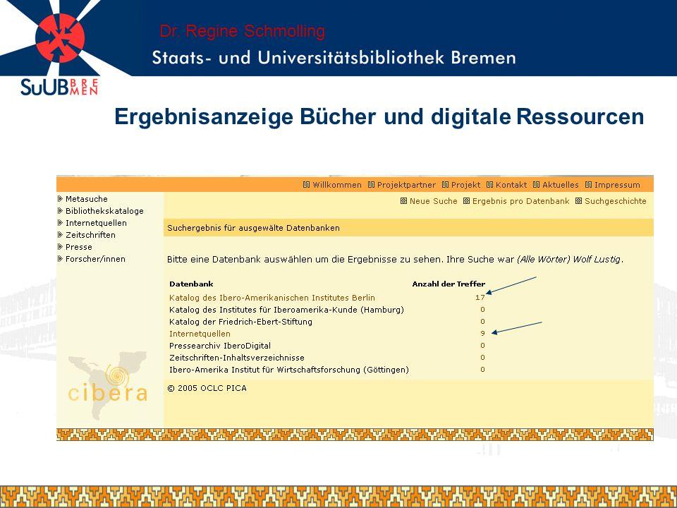 Ergebnisanzeige Bücher und digitale Ressourcen