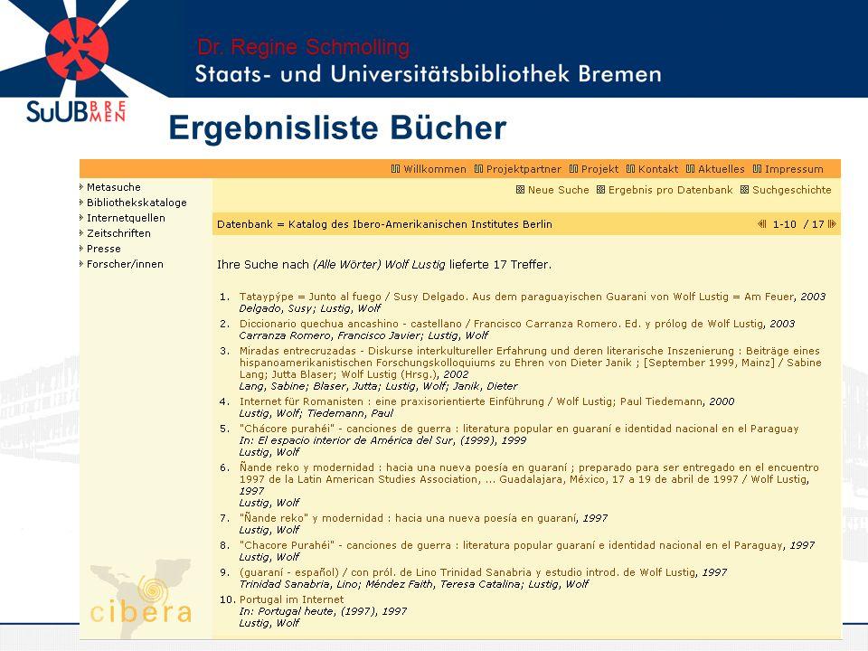Dr. Regine Schmolling Ergebnisliste Bücher