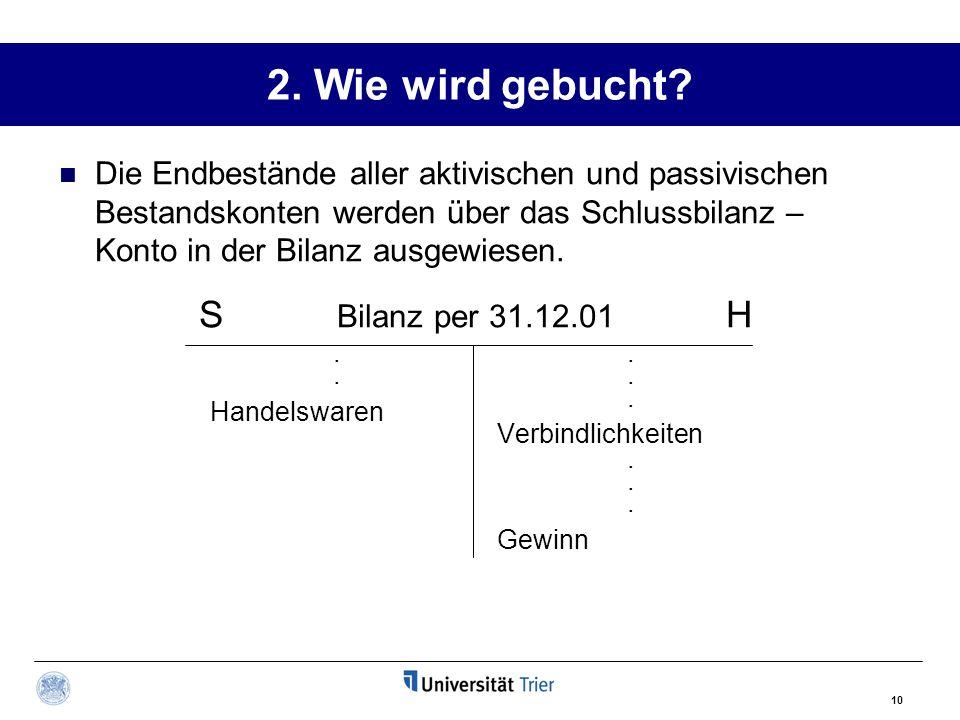 2. Wie wird gebucht S Bilanz per 31.12.01 H