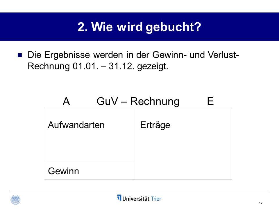 2. Wie wird gebucht A GuV – Rechnung E