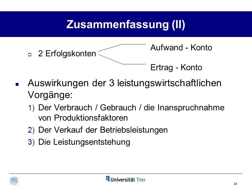 Zusammenfassung (II) Aufwand - Konto. 2 Erfolgskonten. Auswirkungen der 3 leistungswirtschaftlichen Vorgänge: