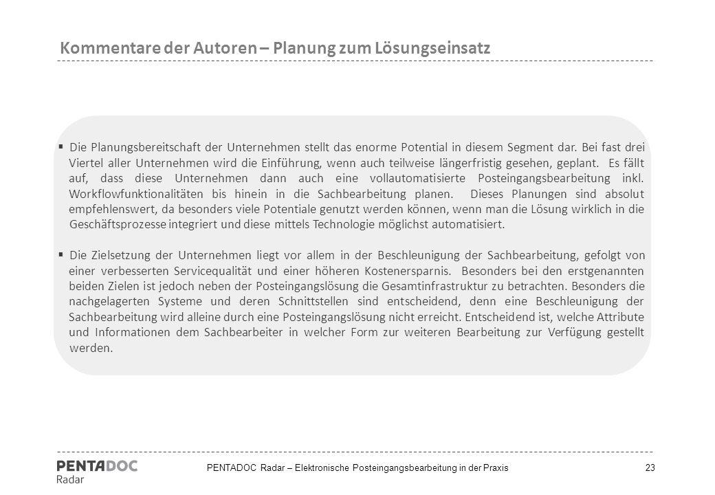 Kommentare der Autoren – Planung zum Lösungseinsatz