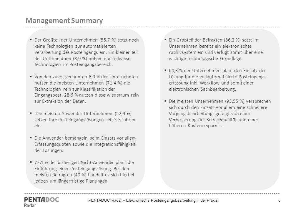 Management Summary Der Großteil der Unternehmen (55,7 %) setzt noch