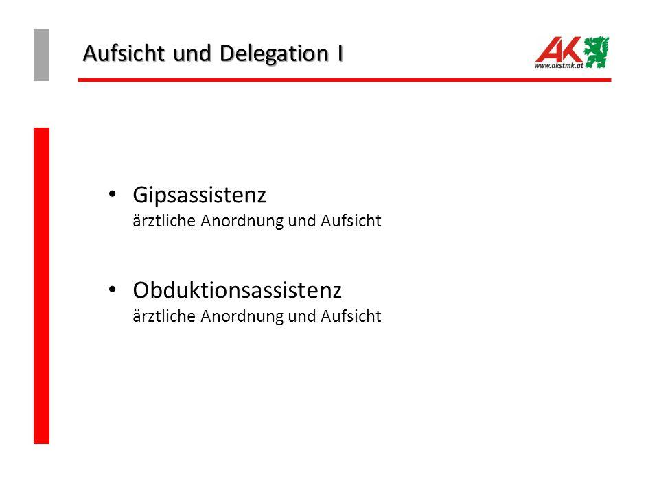 Aufsicht und Delegation I