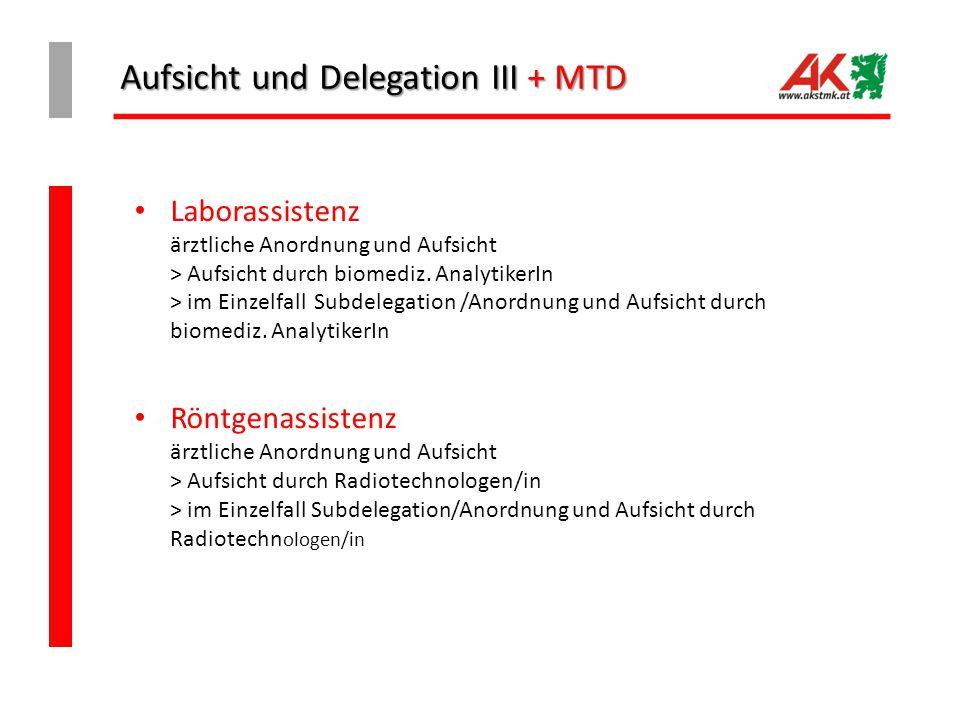 Aufsicht und Delegation III + MTD