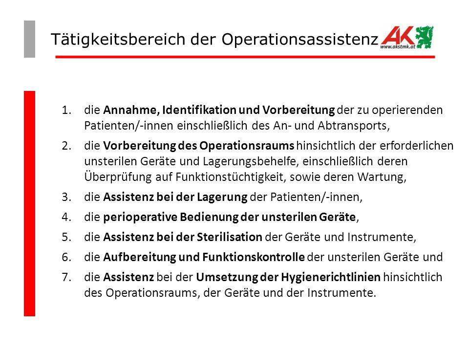 Tätigkeitsbereich der Operationsassistenz