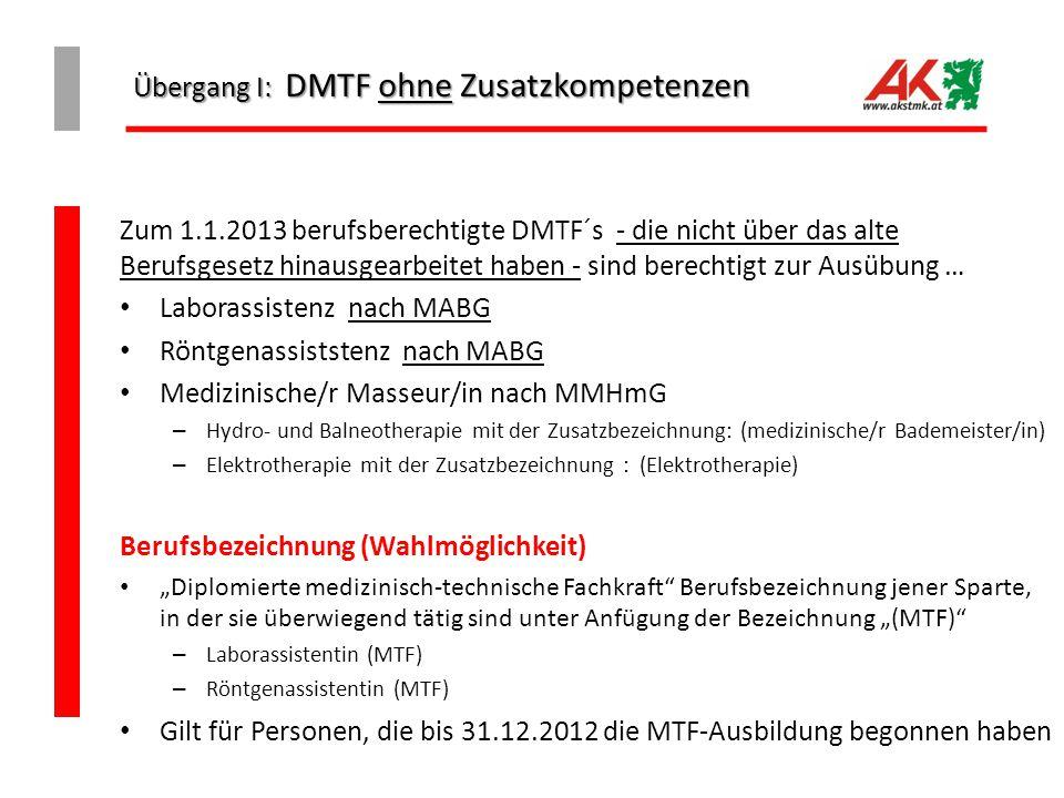 Übergang I: DMTF ohne Zusatzkompetenzen
