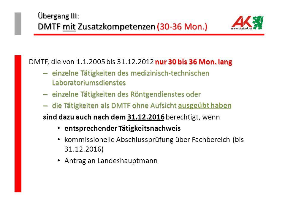Übergang III: DMTF mit Zusatzkompetenzen (30-36 Mon.)