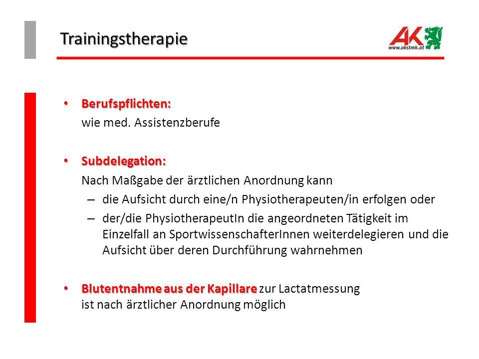 Trainingstherapie Berufspflichten: wie med. Assistenzberufe