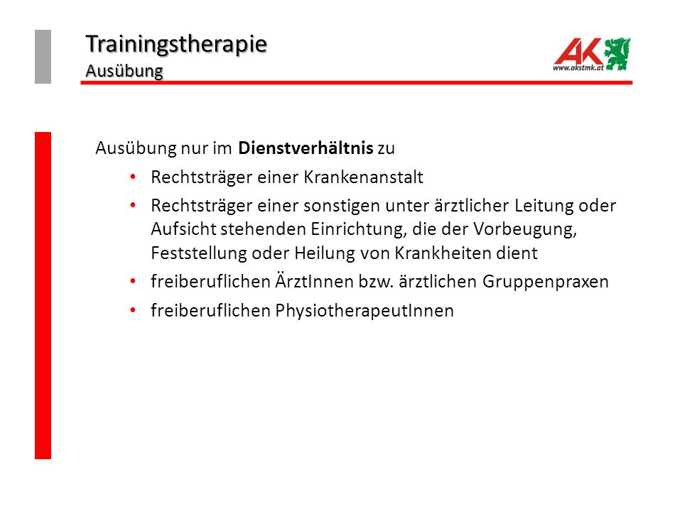 Trainingstherapie Ausübung