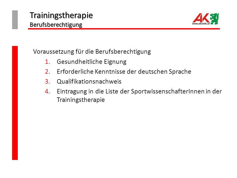 Trainingstherapie Berufsberechtigung