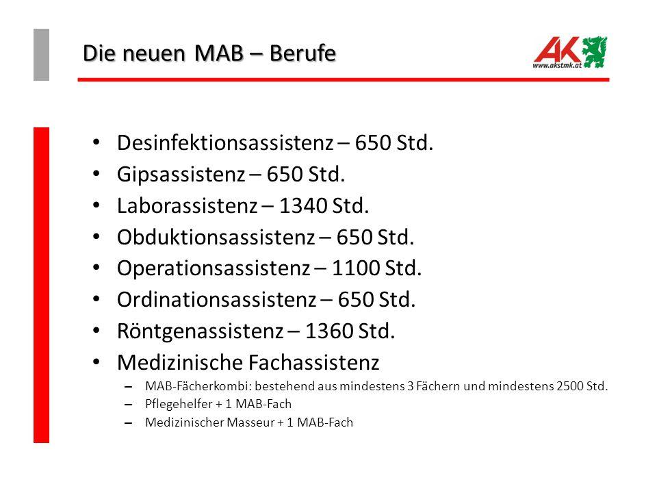 Die neuen MAB – Berufe Desinfektionsassistenz – 650 Std.