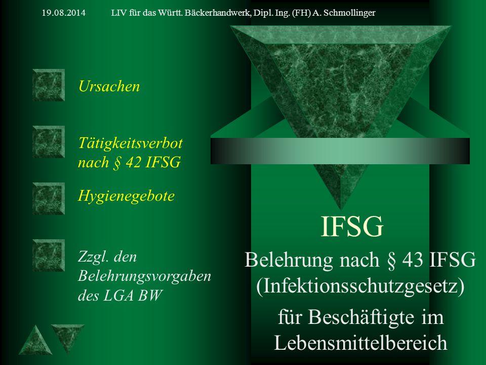IFSG Belehrung nach § 43 IFSG (Infektionsschutzgesetz)
