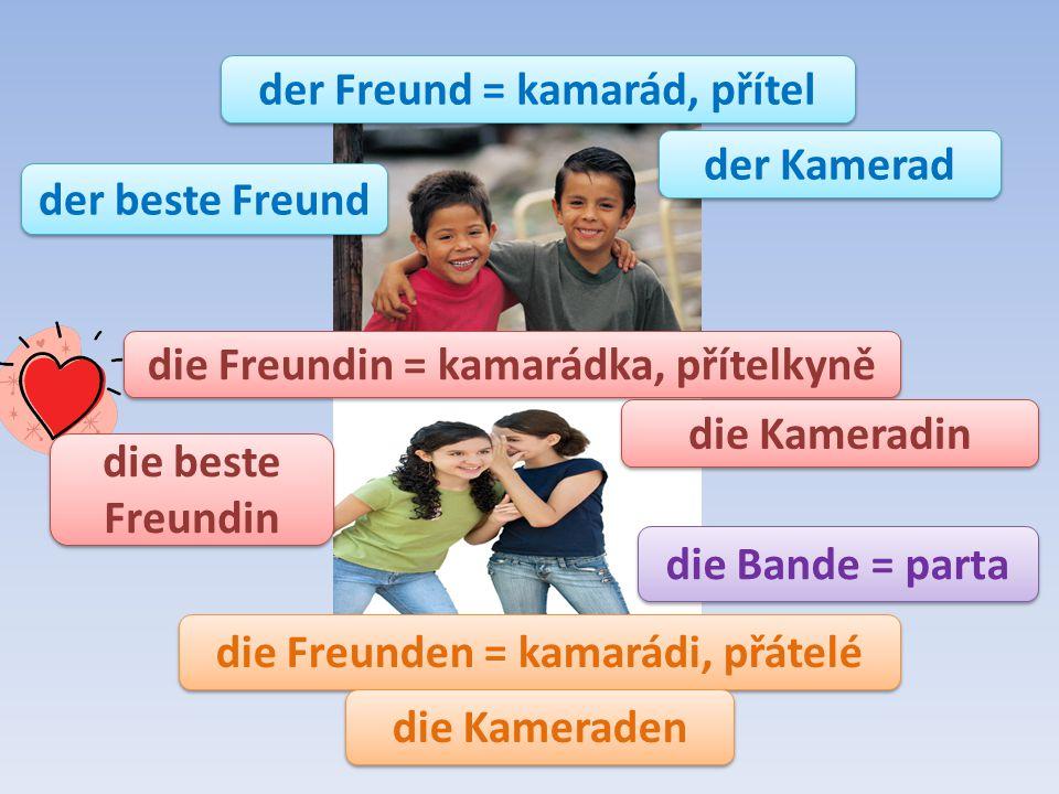 der Freund = kamarád, přítel