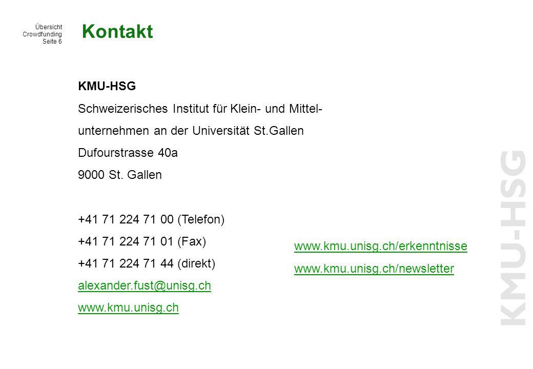 Kontakt KMU-HSG Schweizerisches Institut für Klein- und Mittel-