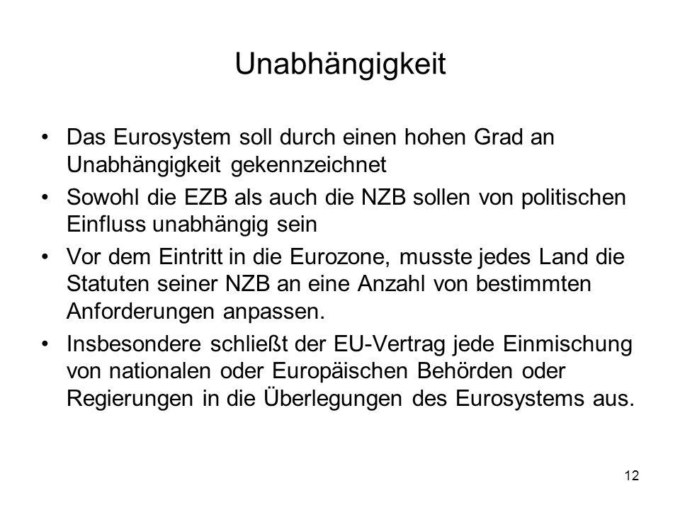 Unabhängigkeit Das Eurosystem soll durch einen hohen Grad an Unabhängigkeit gekennzeichnet.