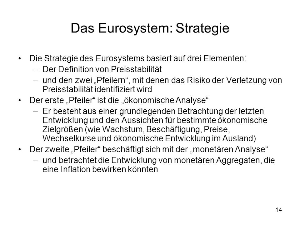 Das Eurosystem: Strategie