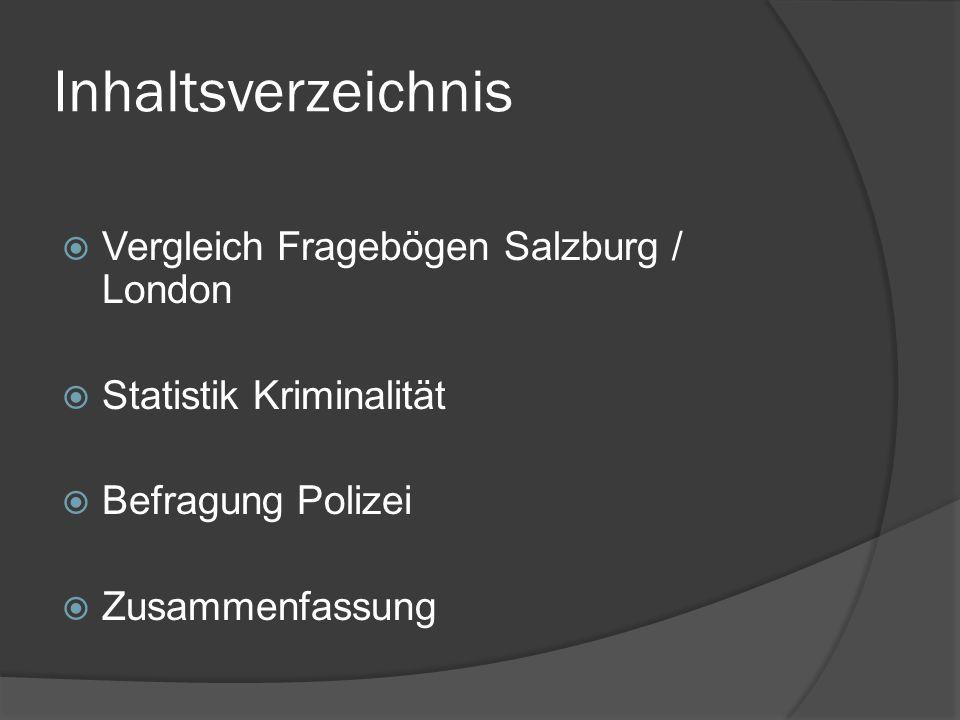 Inhaltsverzeichnis Vergleich Fragebögen Salzburg / London
