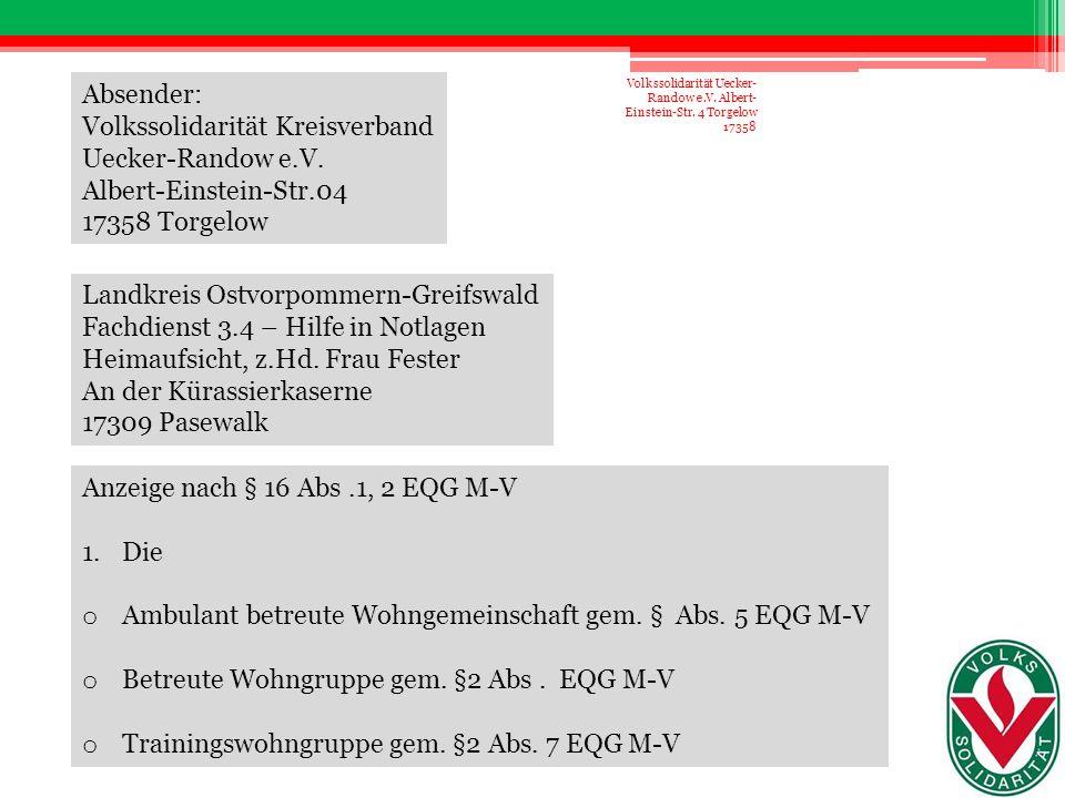 Volkssolidarität Kreisverband Uecker-Randow e.V.