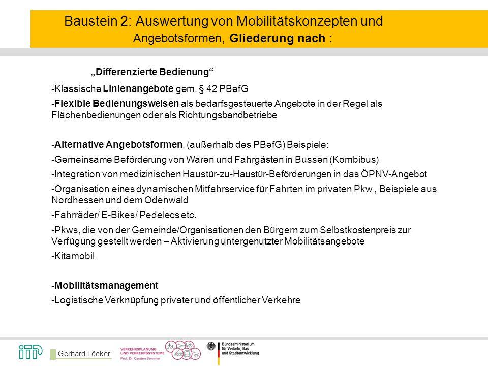 Baustein 2: Auswertung von Mobilitätskonzepten und