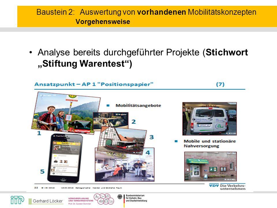 Baustein 2:. Auswertung von vorhandenen Mobilitätskonzepten