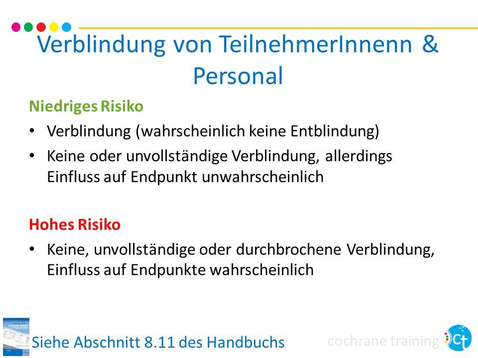Verblindung von TeilnehmerInnenn & Personal