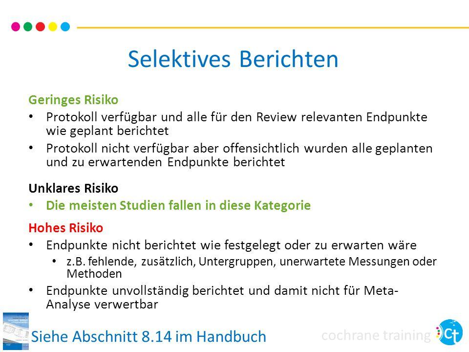 Selektives Berichten Siehe Abschnitt 8.14 im Handbuch Geringes Risiko