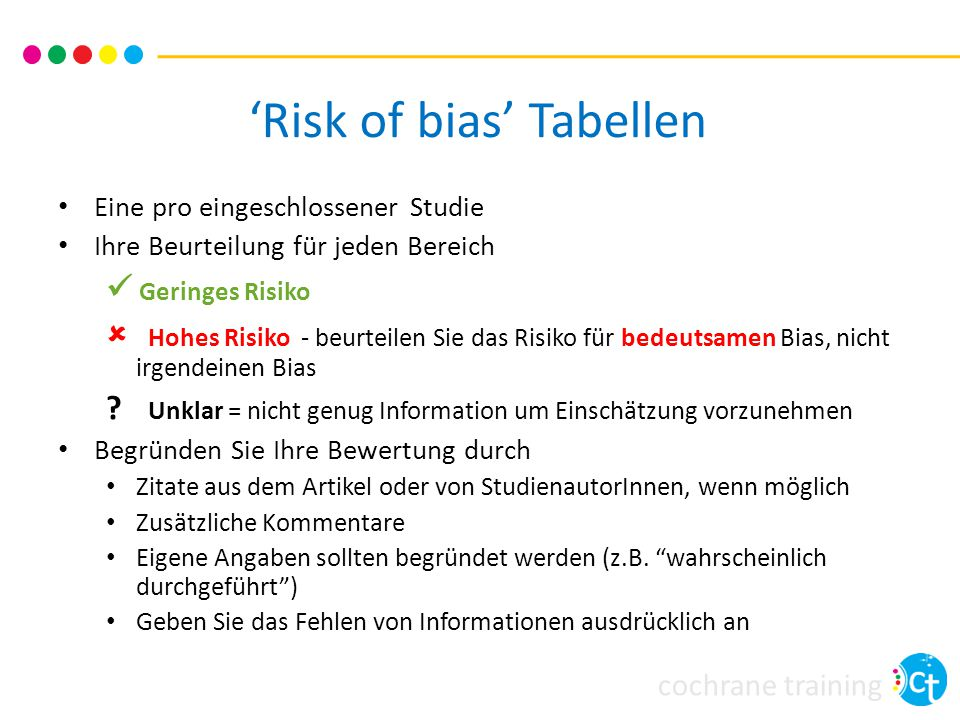 'Risk of bias' Tabellen