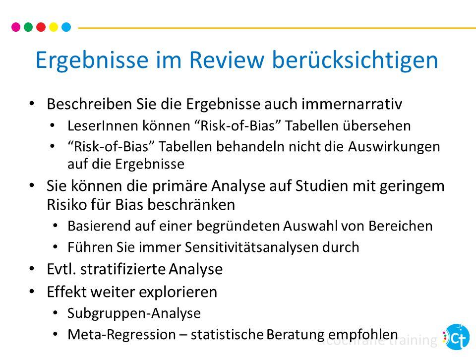 Ergebnisse im Review berücksichtigen