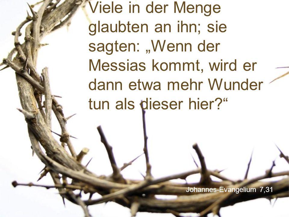 """Viele in der Menge glaubten an ihn; sie sagten: """"Wenn der Messias kommt, wird er dann etwa mehr Wunder tun als dieser hier"""