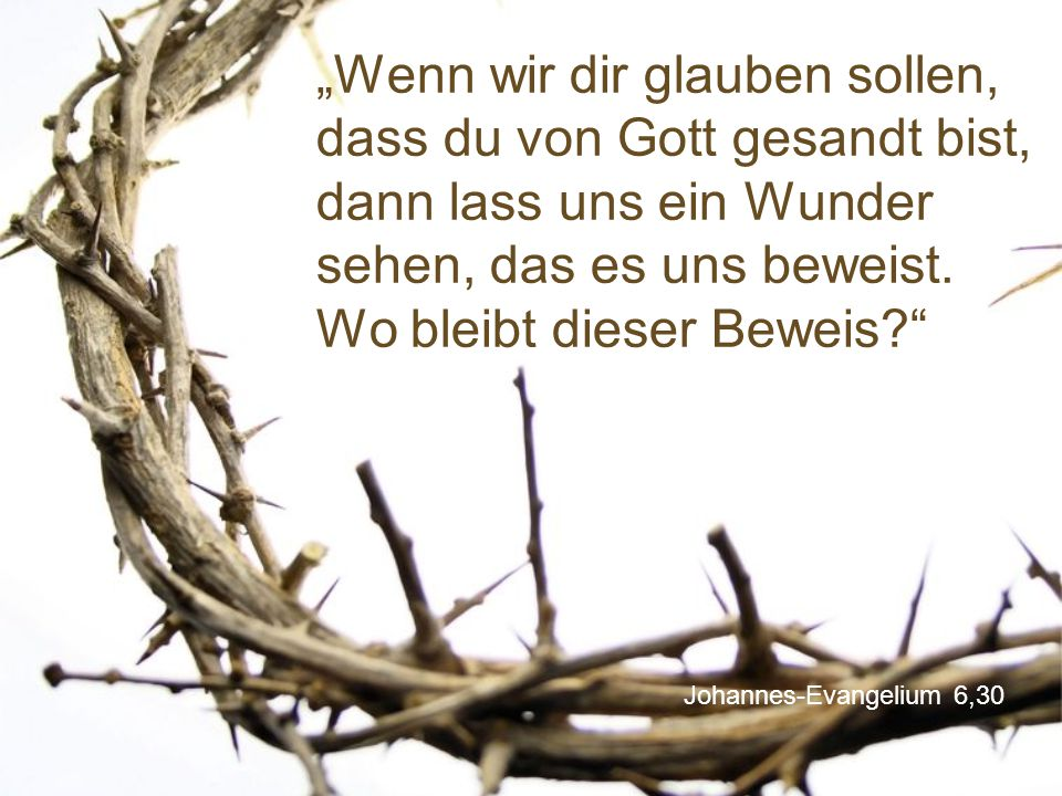 """""""Wenn wir dir glauben sollen, dass du von Gott gesandt bist, dann lass uns ein Wunder sehen, das es uns beweist. Wo bleibt dieser Beweis"""