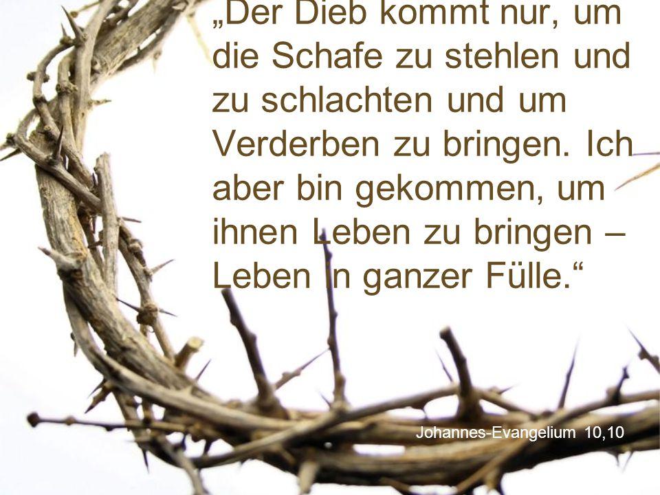 """""""Der Dieb kommt nur, um die Schafe zu stehlen und zu schlachten und um Verderben zu bringen. Ich aber bin gekommen, um ihnen Leben zu bringen – Leben in ganzer Fülle."""