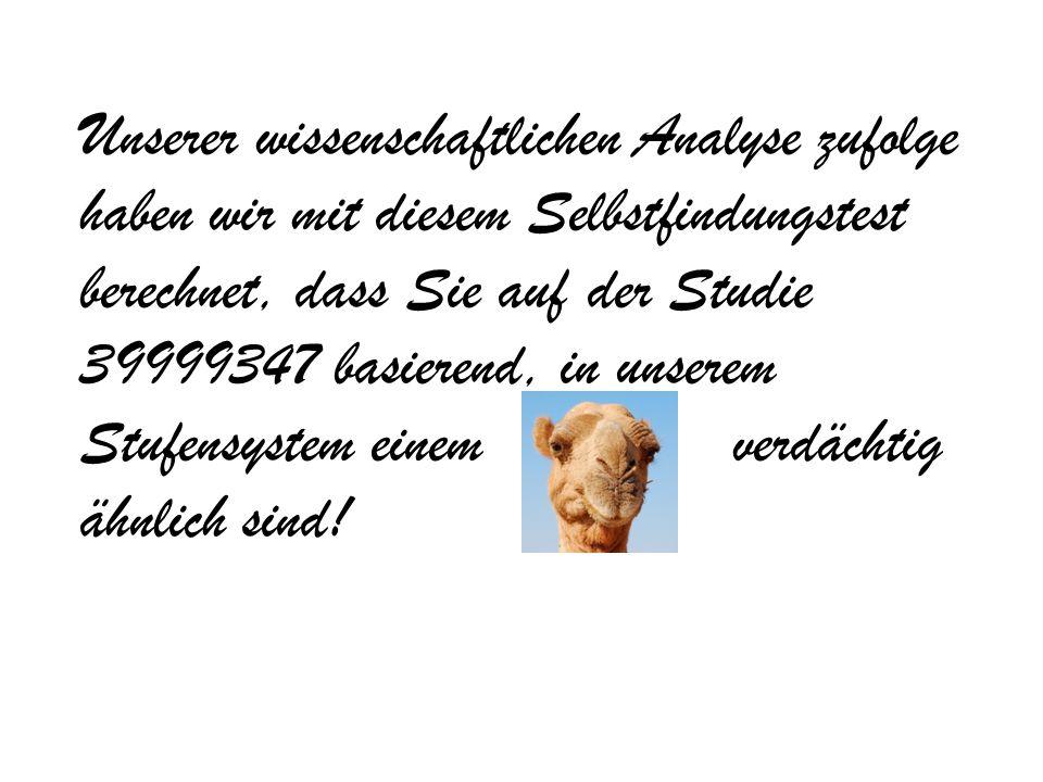 Unserer wissenschaftlichen Analyse zufolge haben wir mit diesem Selbstfindungstest berechnet, dass Sie auf der Studie 39999347 basierend, in unserem Stufensystem einem verdächtig ähnlich sind!