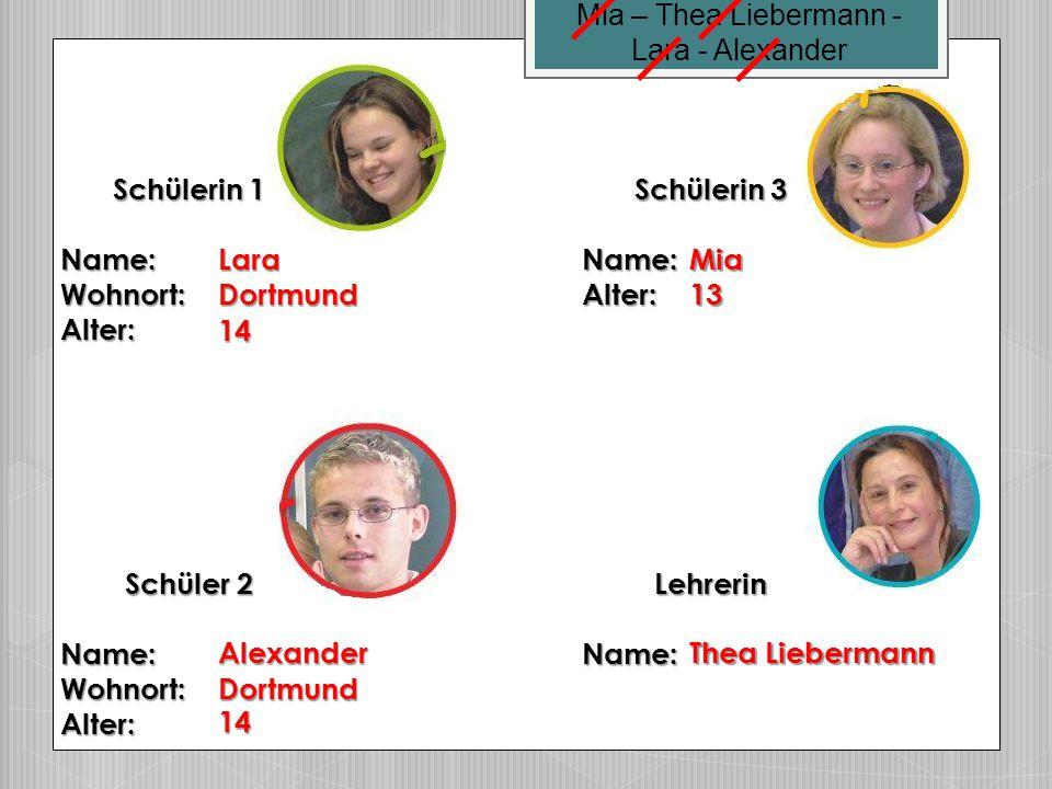 Mia – Thea Liebermann - Lara - Alexander. Schülerin 1. Name: Wohnort: Alter: Schülerin 3. Name: